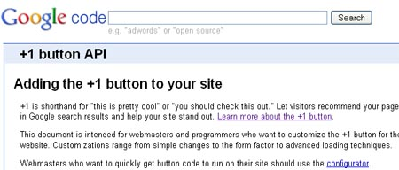 Adding the +1 button to your site