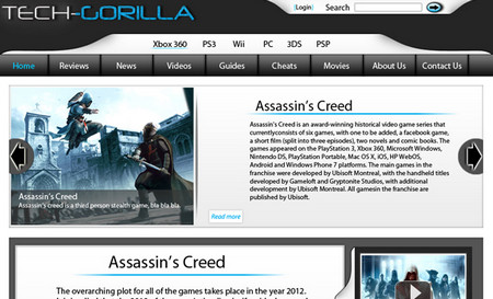 Modern Gaming website layout