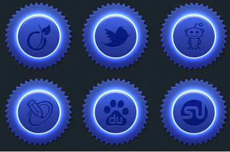 Blue color social icon set