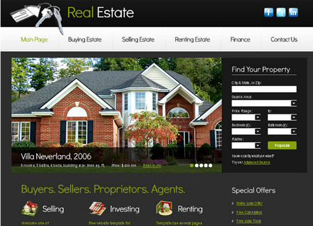 Website Template with Slideshow for Real Estate Project