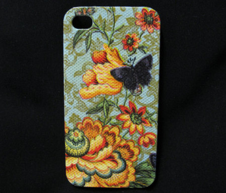 vintage flower with black butterflies iphone4s case