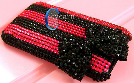 bling black bow rose and black rhinestone hard case