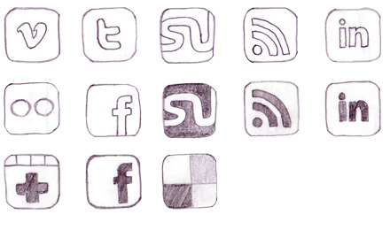 Set of Hand-Drawn Social Icons2