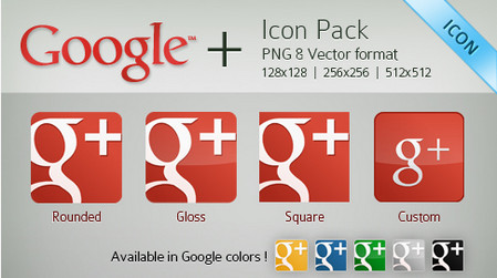 Red Google Plus or Page Vector Icon Pack