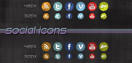 2 Sets Of Cool Social Media Icons and PSD