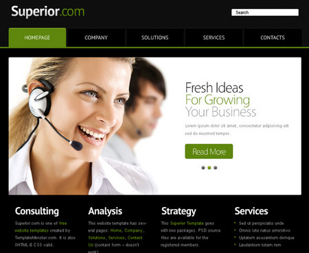 Website Template with jQuery Slider for Business Project: