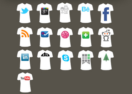 16 T-Shirt Social Media Icon Pack FREE w/ layered PSD file
