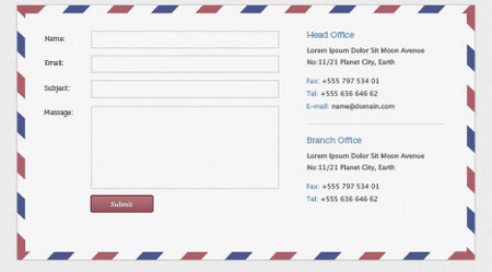 PSD template of a contact form