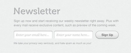 clean and simple, Apple inspired newsletter sign up form
