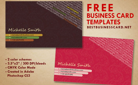 Artist Business Card Templates in Hot Pink and Brown 1 inShare