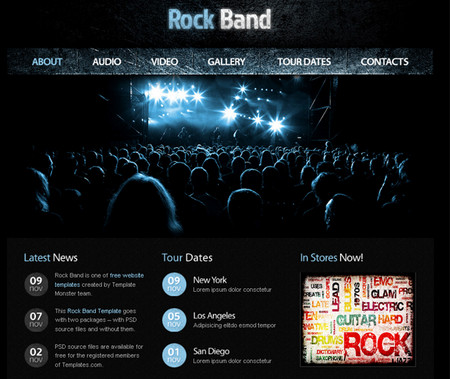 Website Template with jQuery Gallery for Music Site