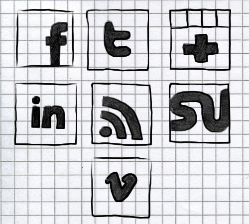 Freebie: Set of hand-drawn black social icons