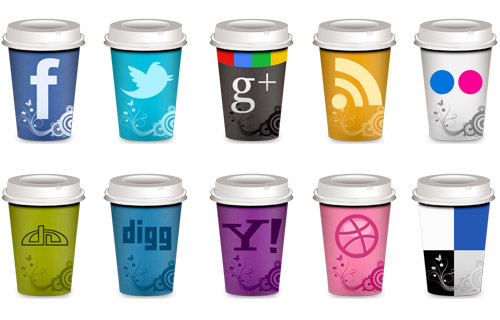 "Freebie: Set of Social Icons ""Takeout Coffee Cup"""