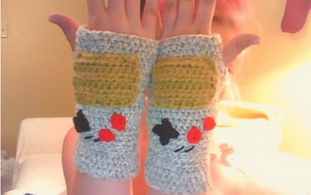 Fingerless Crochet Game Boy Gloves