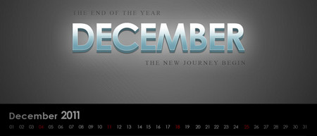 Desktop Wallpaper Calendar of December 2011