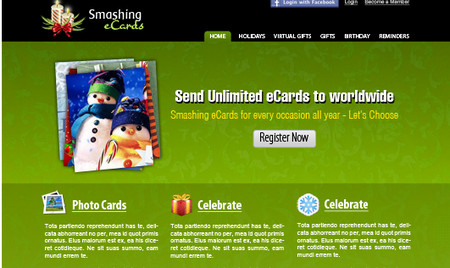 eCards Themed Website Design