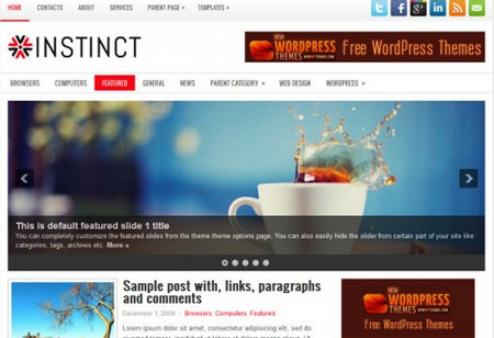 Instinct is a sleek General/Blog theme