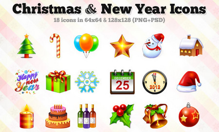 18 Christmas & New Year Icons (PSD Included)