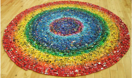Rainbow Toy Car Installation Made from 2,500 Cars