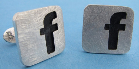 Sterling Silver Facebook Cufflinks