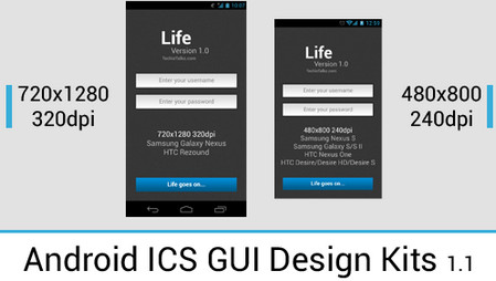 Android 4.0 ICS GUI Design Kits in PSD