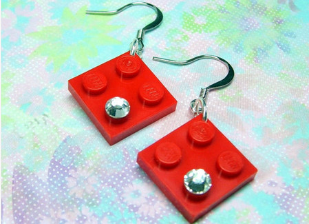 Chic Geek Earrings with Swarovski Crystals and Genuine Lego Plates - Red