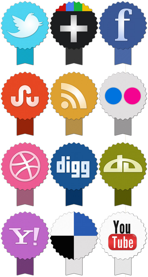 preview Set of badge social icons