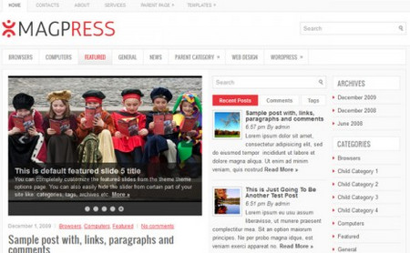 MagPress feels and behaves like a custom built News/Magazine theme