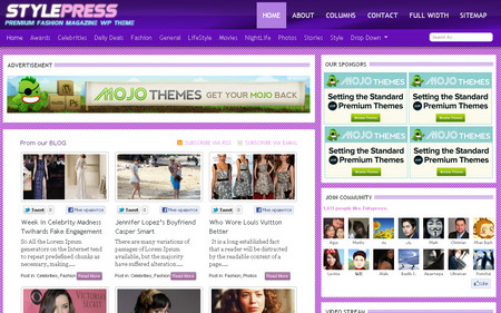 StylePress fashion magazine WordPress theme