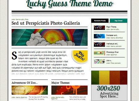 Lucky Guess is a semi-magazine / semi-personal blog styled theme for WordPress