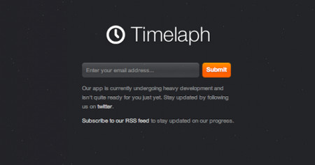 Timelaph - A sleek, dark, spaced-out landing page