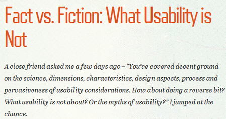 Fact vs. Fiction: What Usability is Not