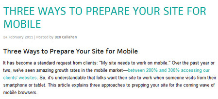 THREE WAYS TO PREPARE YOUR SITE FOR MOBILE