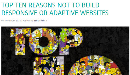 TOP TEN REASONS NOT TO BUILD RESPONSIVE OR ADAPTIVE WEBSITES