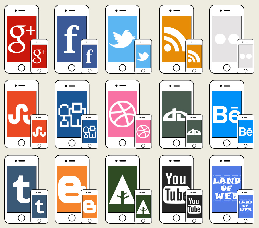 iPhone social icons preview