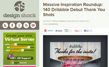 Massive Inspiration Roundup: 140 Dribbble Debut Thank You Shots
