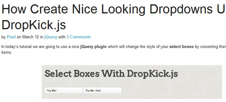 How Create Nice Looking Dropdowns Using DropKick.js