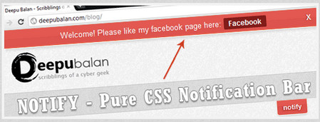 Pure CSS notification bar using :target pseudo class