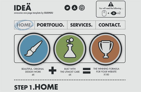 Idea' One-Page Portfolio Template