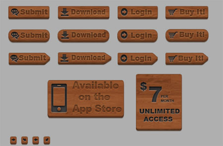 Wooden Style 3D Buttons