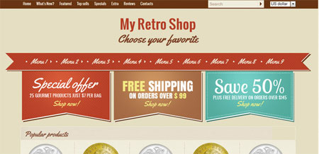 Retro shop – single page layout for your e-shop