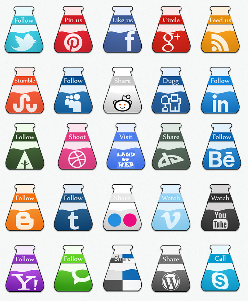 Test-Tube Social Icons full pack preview