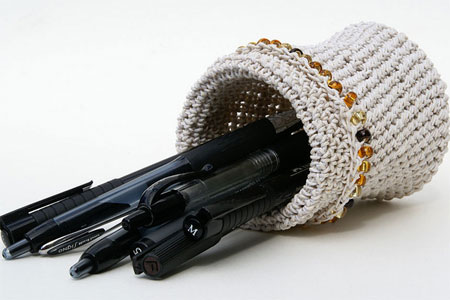 Crochet Pencil Holder, White Hemp Twine with Beads