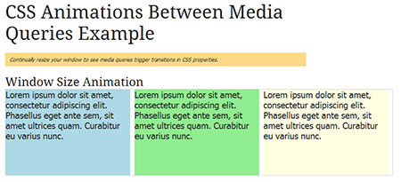CSS Animations Between Media Queries
