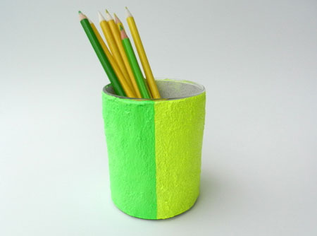 Neon Green and Neon Yellow pencil holder 2