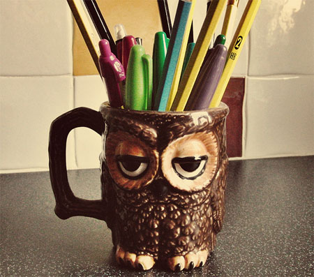 Cute vintage Owl pencil holder