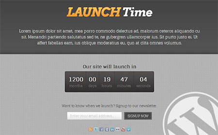 WordPress Coming-Soon Page Theme: LauchTime