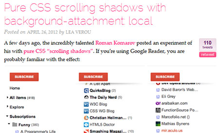 Pure CSS scrolling shadows with background-attachment: local