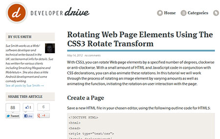 Rotating Web Page Elements Using The CSS3 Rotate Transform