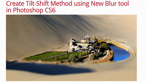 Photoshop CS6 Tutorials: Create Tilt-shift photography